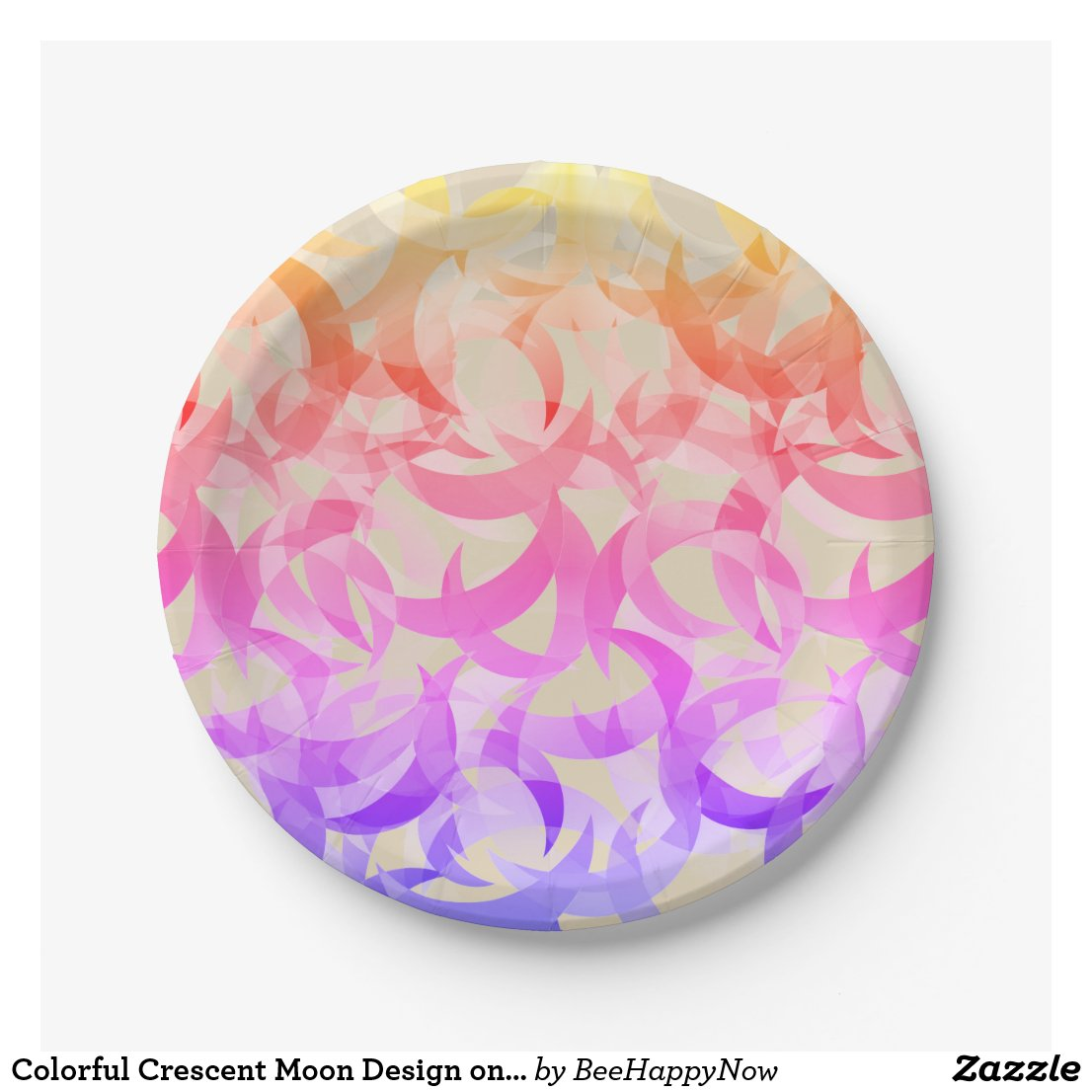 Colorful Crescent Moon Design on Paper Plates