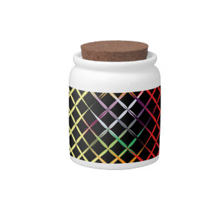 Colorful Criss Cross Design Candy Jar