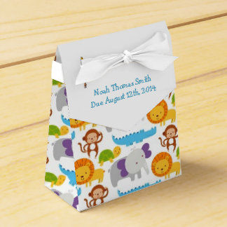 Colorful Critter Theme Baby Shower Favor Box