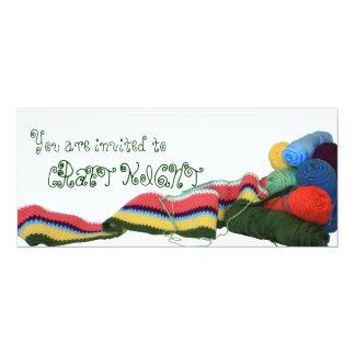 """Colorful Crochet Craft Night Invitation 4"""" X 9.25"""" Invitation Card"""