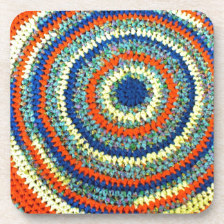 Colorful Crochet Lovers Traditional Rag Rug Photo Beverage Coaster