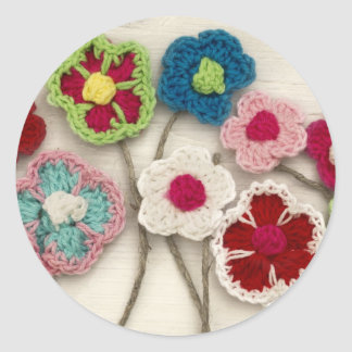 colorful crocheted flowers classic round sticker