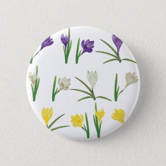 Colorful Crocus Flowers Pinback Button
