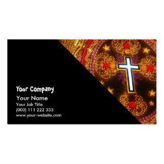 Colorful cross of lights business card templates