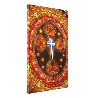 Colorful cross of lights canvas print