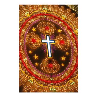 Colorful cross of lights photo