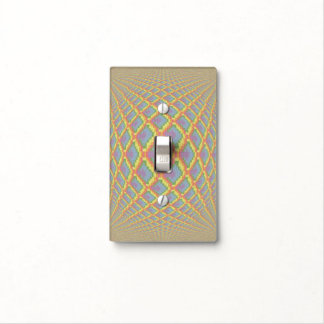 Colorful Cross Stitch Image with 3D Effect Light Switch Cover