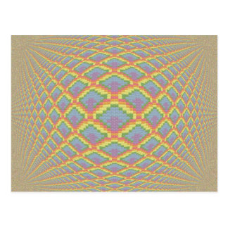 Colorful Cross Stitch Image with 3D Effect Postcard