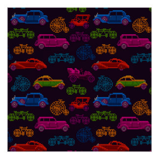 colorful cross-stitch textured vintage vehicles poster
