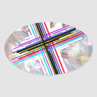 Colorful Crosses and the swirls. Oval Sticker