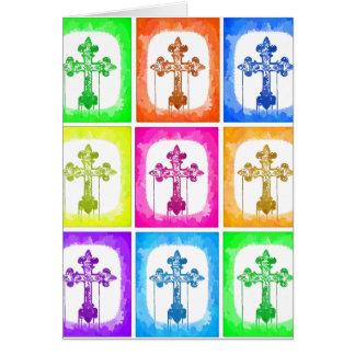 Colorful Crosses Christian Pop Art Card