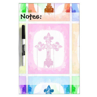 Colorful Crosses Christian Pop Art Collage Dry-Erase Board