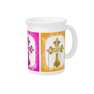 Colorful Crosses Christian Pop Art Drink Pitcher