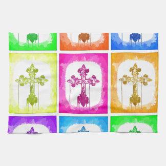 Colorful Crosses Christian Pop Art Hand Towel