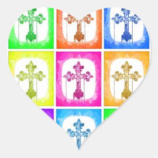 Colorful Crosses Christian Pop Art Heart Sticker