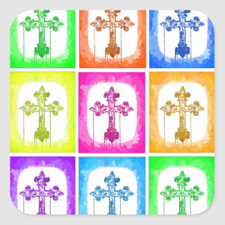 Colorful Crosses Christian Pop Art Square Sticker