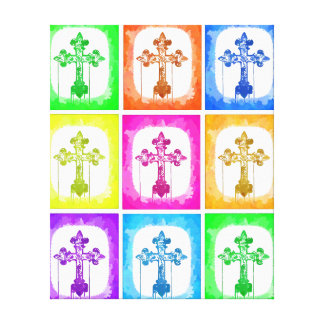 Colorful Crosses Christian Pop Art Wrapped Canvas