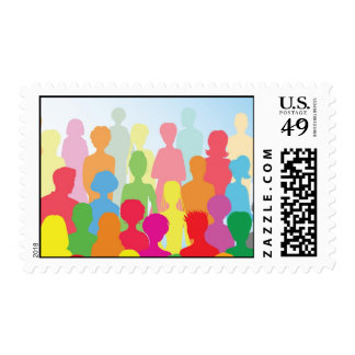 Colorful crowd stamp