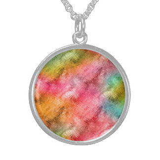 Colorful Crystal Glass Pattern Sterling Silver Necklace