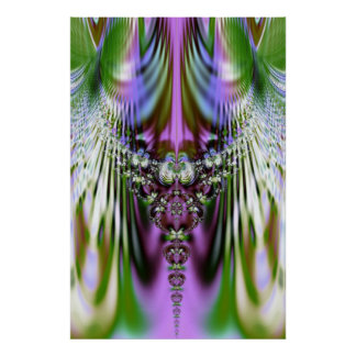 Colorful Crystal Pastel Fractal Vert Poster