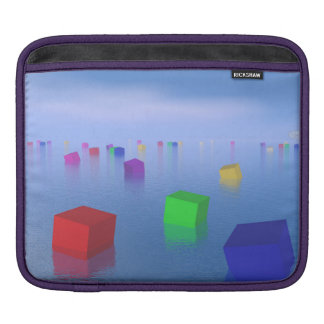 Colorful cubes floating - 3D render iPad Sleeve