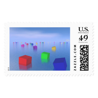 Colorful cubes floating - 3D render Postage