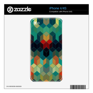 Colorful Cubes Geometric Design Decal For The iPhone 4S