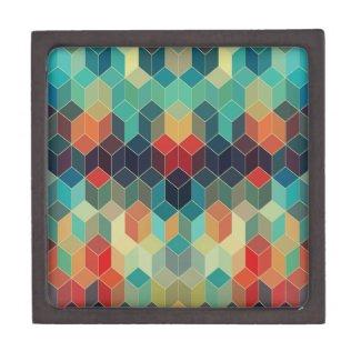 Colorful Cubes Geometric Pattern 2 Premium Trinket Boxes