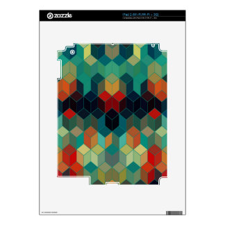 Colorful Cubes Geometric Pattern 3 Decal For iPad 2