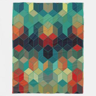 Colorful Cubes Geometric Pattern Fleece Blanket