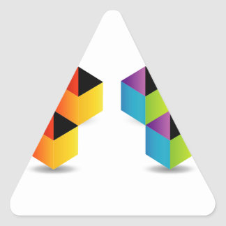 colorful cubes triangle sticker