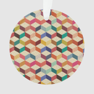 Colorful Cubes with Block Overlay Pattern Ornament
