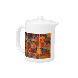 Colorful Cubism Abstract Temple Gardens by Paul Kl Teapot