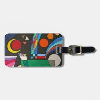 Colorful Cubism Moon Stars Geometric Art Bag Tag
