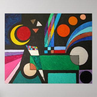 Colorful Cubism Moon Stars Geometric Art Posters