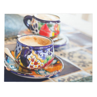 Colorful cup of coffee note pad