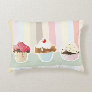 colorful cupcake accent pillow