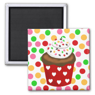 Colorful Cupcake and Polka Dot 2 Inch Square Magnet