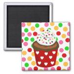 Colorful Cupcake and Polka Dot Refrigerator Magnet