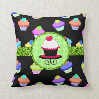 Colorful Cupcake Chaos Throw Pillow