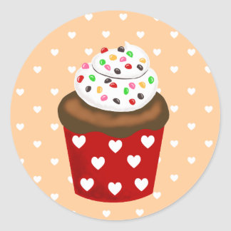 Colorful Cupcake Classic Round Sticker