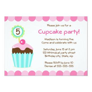 Colorful cupcake girls birthday party invitation