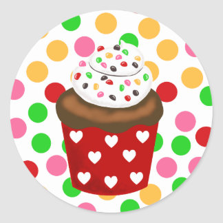 Colorful Cupcake Polka Dot Classic Round Sticker