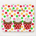 Colorful Cupcake Polka Dot Mouse Pad