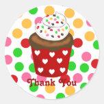 Colorful Cupcake Polka Dot Round Sticker