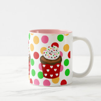 Colorful Cupcake Polka Dot Two-Tone Coffee Mug