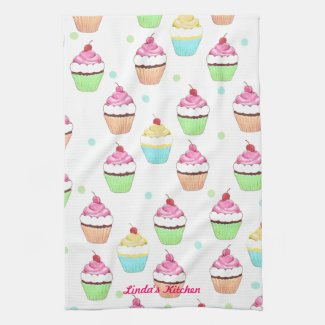 Colorful Cupcake Tea Towel
