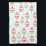 """Colorful Cupcake Tea Towel<br><div class=""""desc"""">Cute little cupcakes decorate this great kitchen towel.  In colors of pink,  green,  blue,  and yellow this towel matches anything.  You customize the text at the bottom.</div>"""