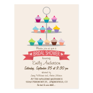 Colorful Cupcake Tree Bridal Shower Postcard