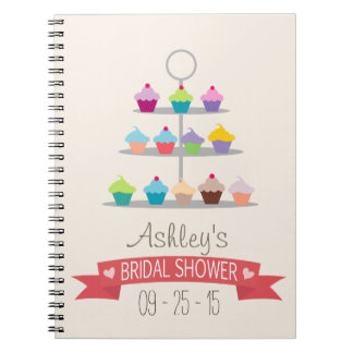 Colorful Cupcake Tree Bridal Shower Spiral Notebook